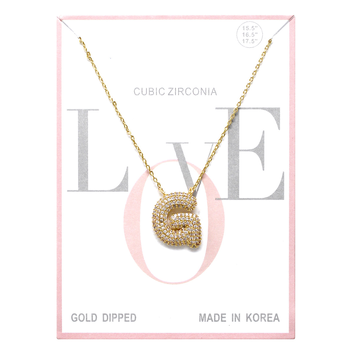 G Cubic Zirconia Pave Initial Simple Chain Necklace