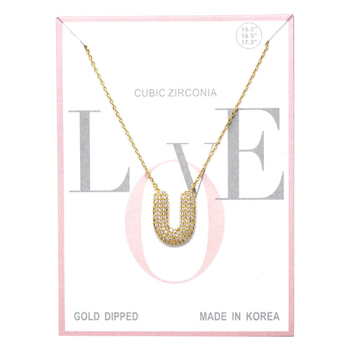 U Cubic Zirconia Pave Initial Simple Chain Necklace