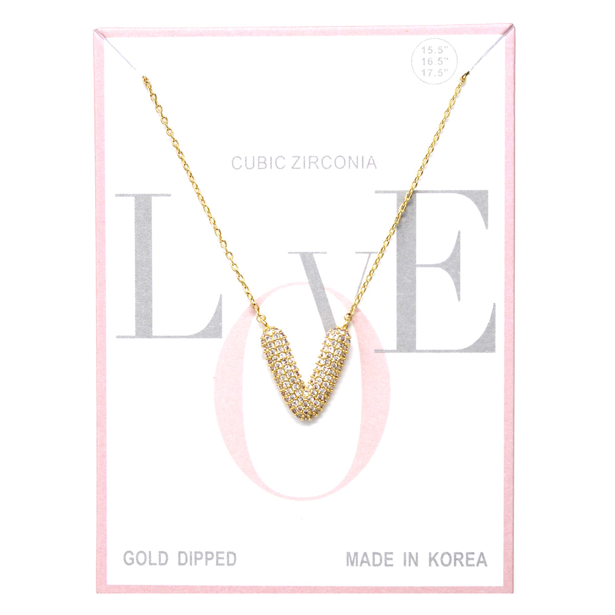 V Cubic Zirconia Pave Initial Simple Chain Necklace