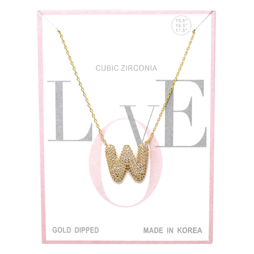 W Cubic Zirconia Pave Initial Simple Chain Necklace