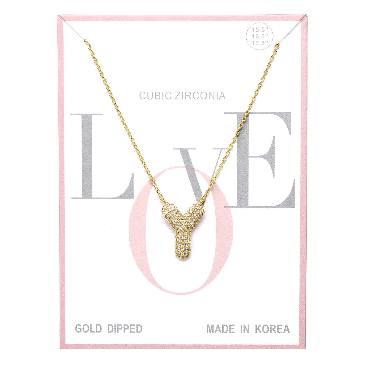 Y Cubic Zirconia Pave Initial Simple Chain Necklace