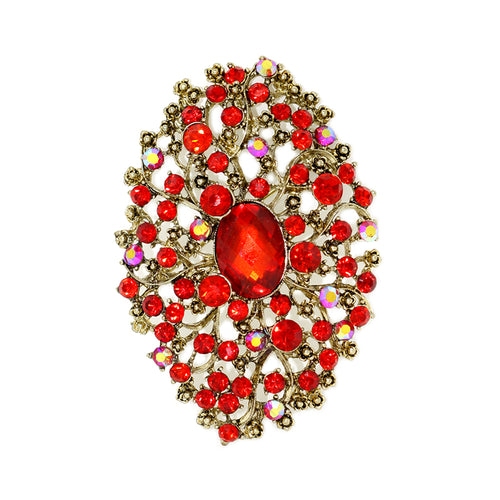 Oval Shaped Glass Brooch