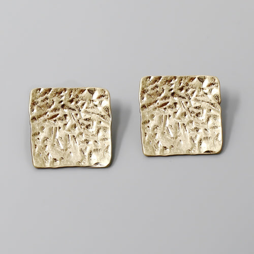 Textured Metal Chunky Square Shape Stud Earrings