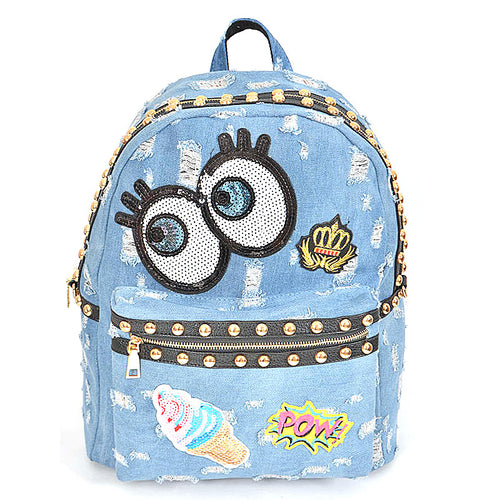 Cartoon Jean Inspired Patch Backpack