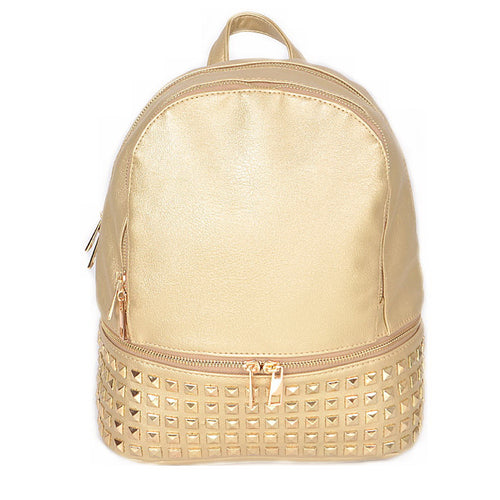 Metal Studded Vegan Leather Fashion Backpack