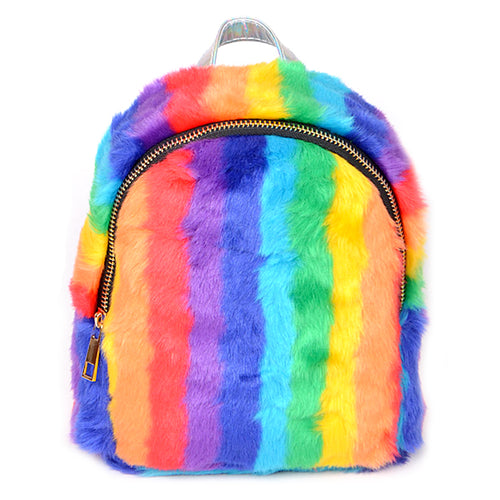 Colorful Faux Fur Mini Backpack