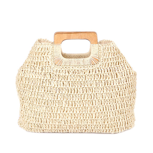 Rectangle Shape Wood Handle Straw Tote Bag