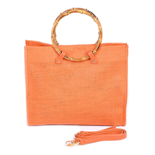 Square Woven With Bamboo Round Handle Tote Bag