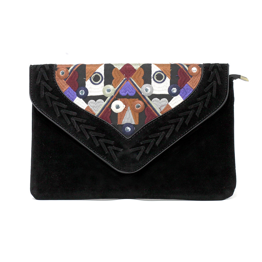 Embroidery Envelope Clutch Bag