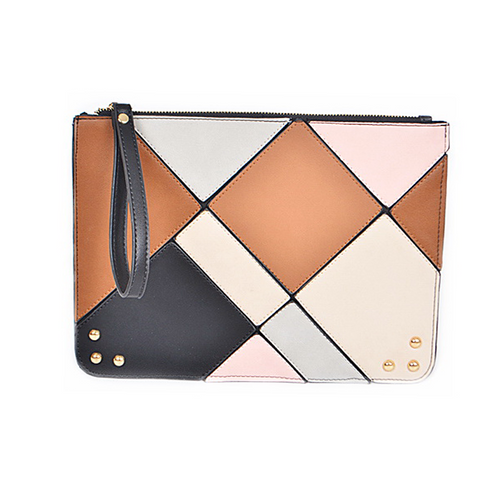 Multi Color Geometric Tile Wristlet Pouch Bag