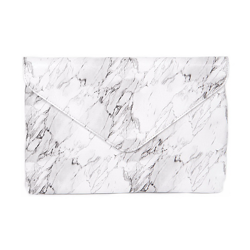 Vegan Leather Marble Print Envelope Clutch Bag