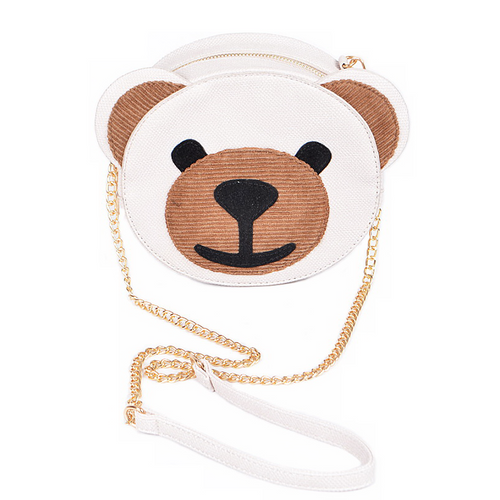 Modern Vegan Leather Teddy Bear Mini Shoulder Bag