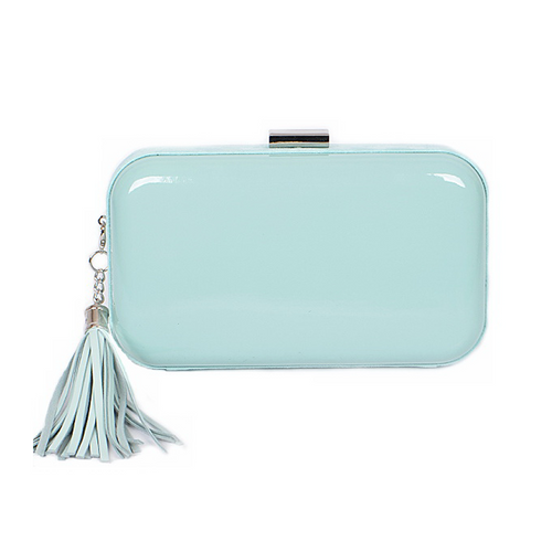 Glamorous Glossy Hard Case Clutch Bag With Tassel