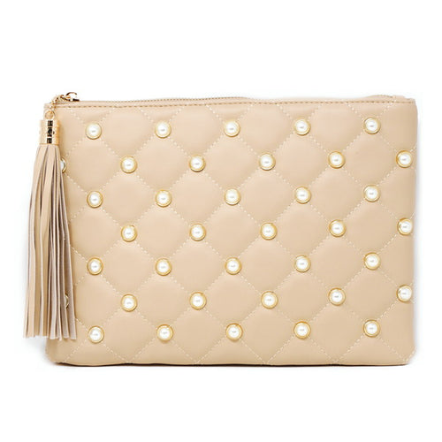 Pearl Studded Quilted Clutch Bag With Long Tassel