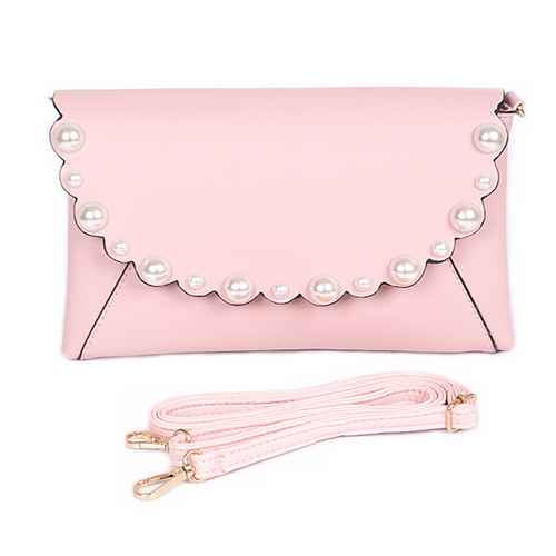 Vegan Leather Pearl Trimmed Envelope Clutch Bag