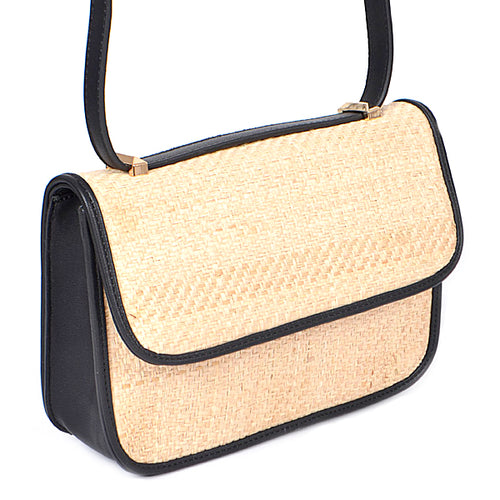 Rattan Weave With Faux Leather Crossbody Bag