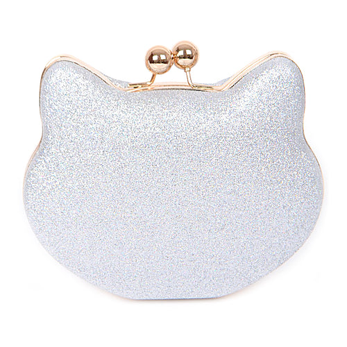 Cute Cat Shaped Glitter Clutch Bag