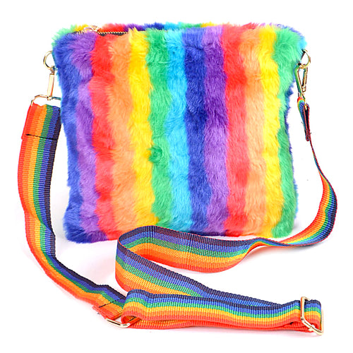 Multi Color Faux Fur Square Shape Crossbody Bag