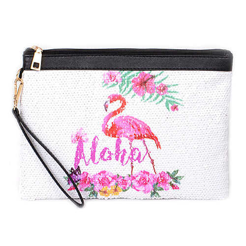 Sequin Flamingo Printed Clutch Bag