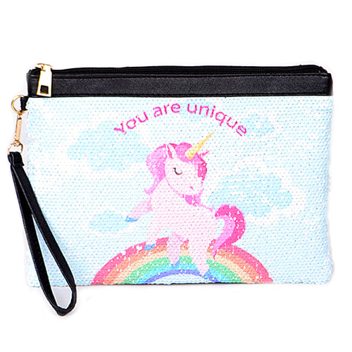 Sequin Unicorn Printed Clutch Bag