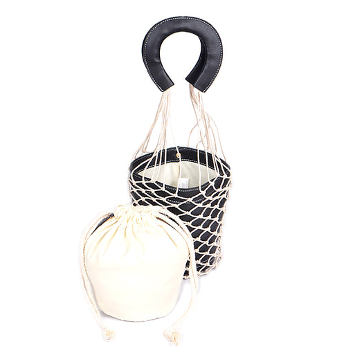 Cotton Net With Faux Leather Bucket Bag