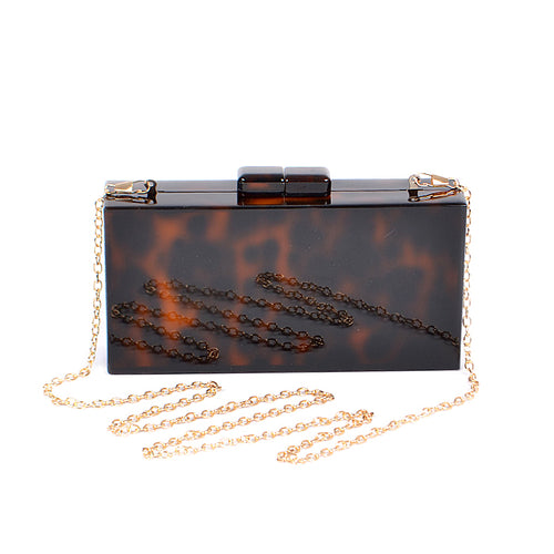 Leopard Rectangular Acrylic Hard Case Clutch