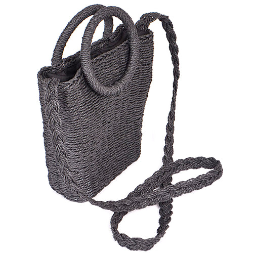 Woven Straw Bag With Circle Handle Crossbody
