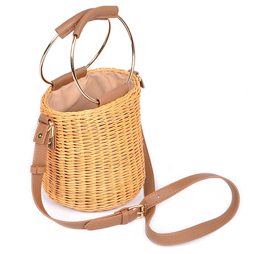 Straw Bucket With Ring Handle Crossbody Bag