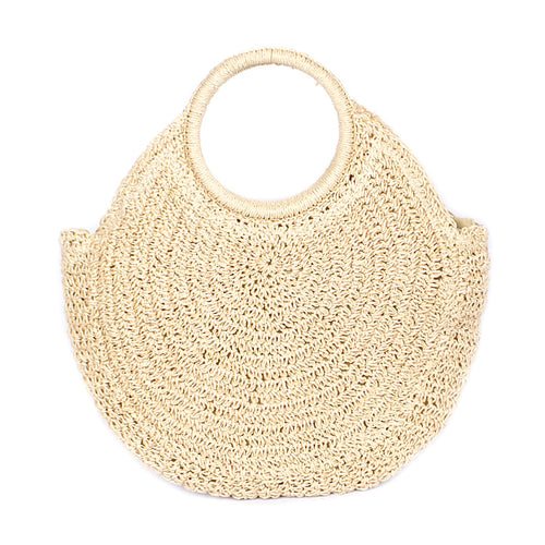 Round Handle Straw Tote Bag