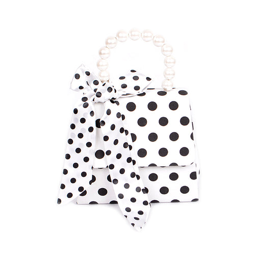 Polka Dot With Pearl Bead Handle Ladylike Clutch