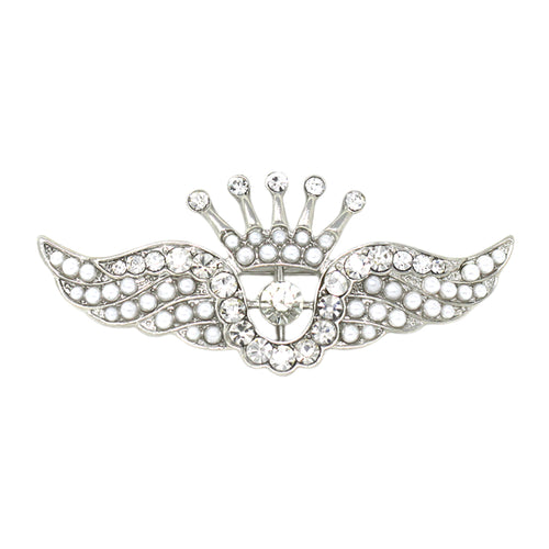 Crown Wing Glass with Pearl Brooch