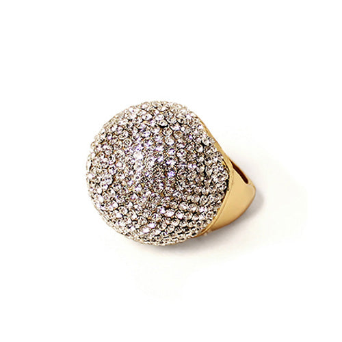 Pave Ball Crystal Sphere Stretch Ring