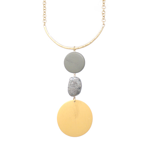 Chunky Color Wood Disc With Natural Stone Pendant Short Necklace