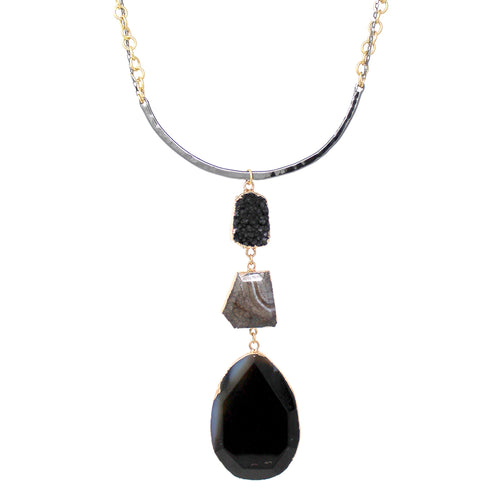 Chunky Natural Stone And Druzy Stone Drop With Metal Bar Short Necklace