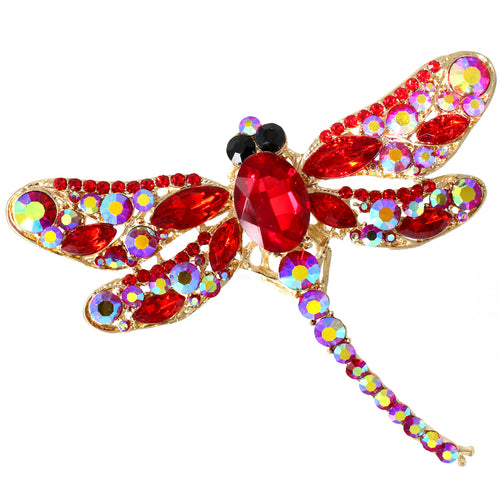 Red Glass Stone Pave Dragonfly Pin Brooch
