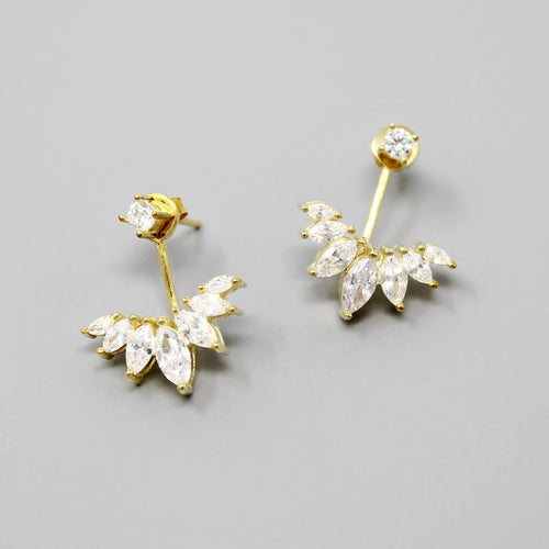 Sterling Silver Marquise Shape CZ Stone Ear Jackets