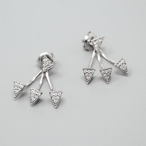 Sterling Silver CZ Pave Triangle Ear Jacket Earrings