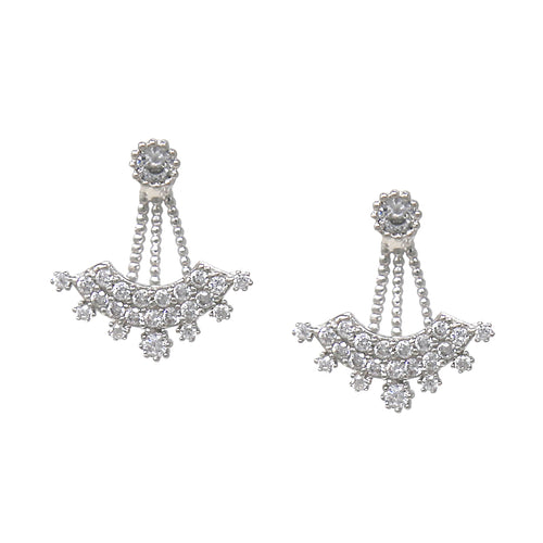 925 Sterling Silver Cubic Zirconia Pave Ear Jacket Earrings