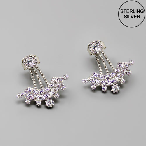 CZ Pave Arched Ear Jacket Earrings