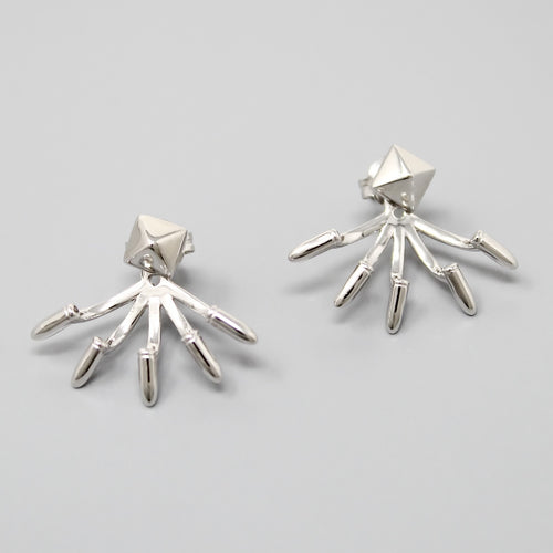 Sterling Silver Metallic Spike Ear Jacket Earrings