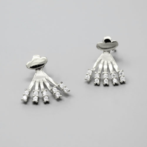 Sterling Silver CZ Pave Spike With Cloud Shape Top Ear Jackets