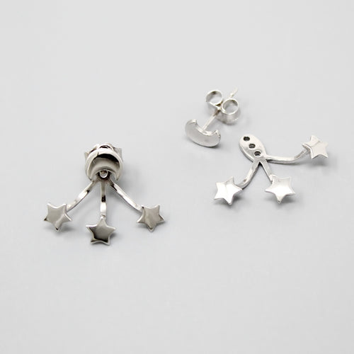 Sterling Silver Moon With Stars Ear Jacket Earrings