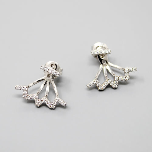 Sterling Silver CZ Pave Wave Ear Jacket Earrings