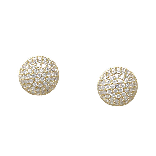 925 Sterling Silver Cubic Zirconia Paved Disc Stud Earrings