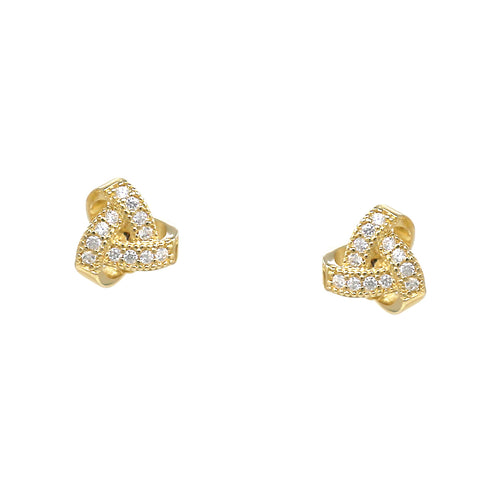 925 Sterling Silver Cubic Zirconia Pave Knot Stud Earrings