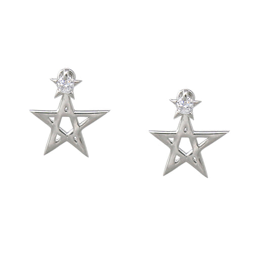 925 Sterling Silver Cubic Zirconia Pave Star Double Sided Drop Earrings