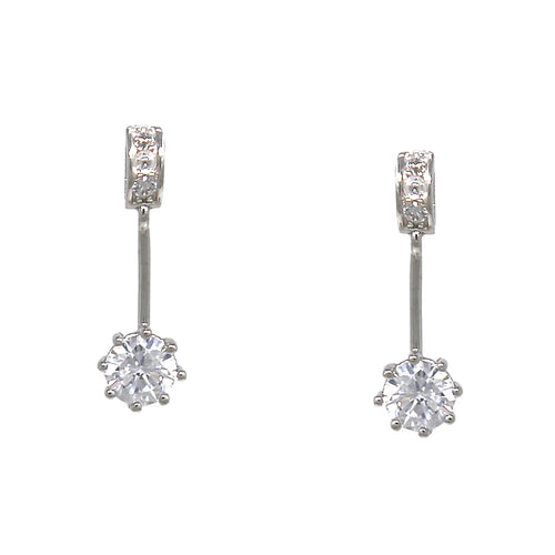 925 Sterling Silver Bar Cubic Zirconia Drop Earrings