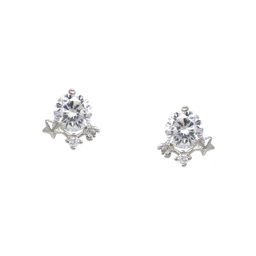 925 Sterling Silver Cubic Zirconia Pave Stud Earrings