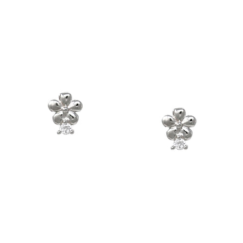 925 Sterling Silver Flower Cubic Zirconia Pave Stud Earrings