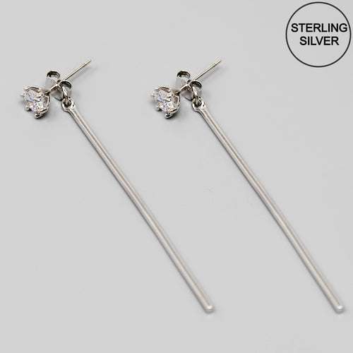CZ Stud With Sterling Silver Bar Earrings